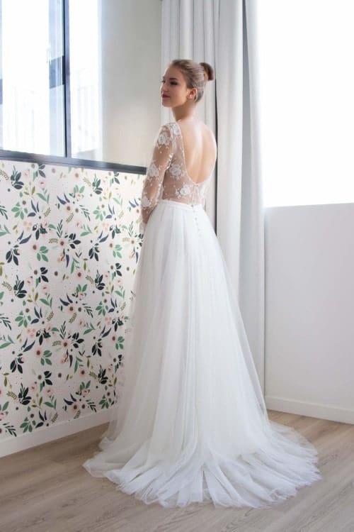 robe de mariée dos nu col danseuse