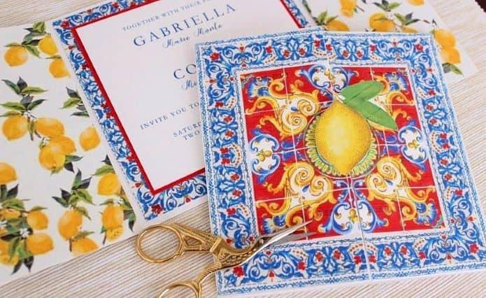 faire part pour mariage thème bella vita sur al sicile