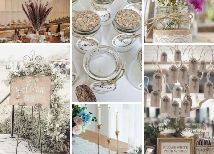 collage de décoration de mariage achetés sur amazon