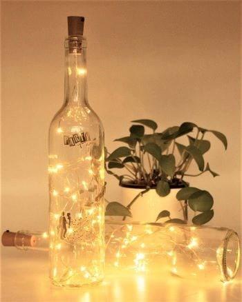 guirlandes dans une bouteille pour décoration de mariage