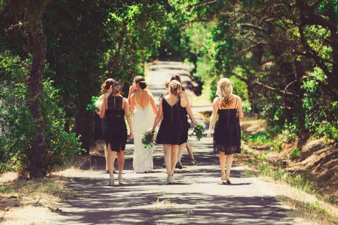 mariée s'éloignant avec ses témoins et demoiselles d'honneur