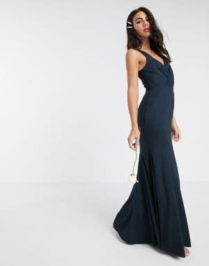 robe longue de demoiselle d'honneur bleue