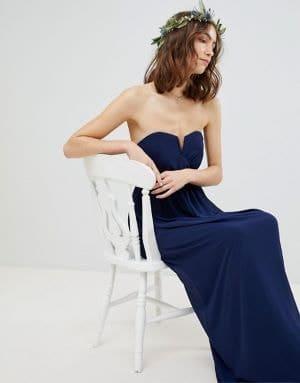 robe longue bustier bleu foncé