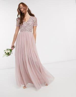 robe de demoiselle d'honneur à paillettes