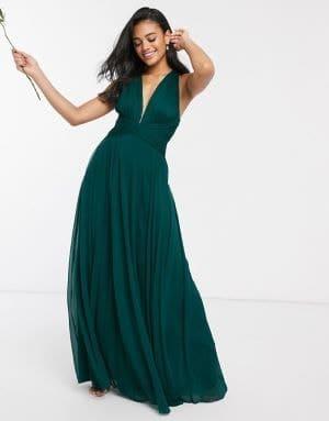 robe demoiselles d'honneur vert foncé