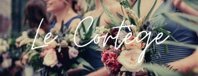 """cortège de la mariée tenant un bouquet de fleur """"le cortège"""""""