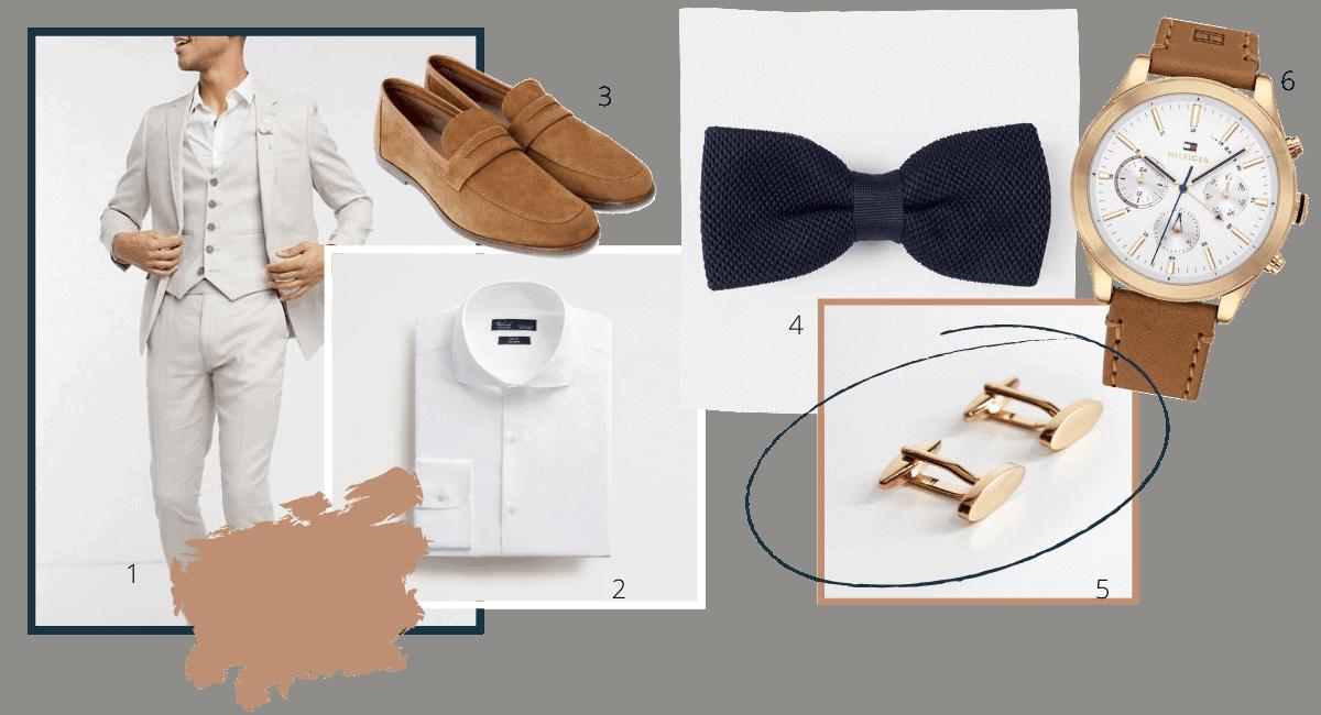 tenue complète du marié costume de mariage noeud papillon montre chaussures de mariage et boutons de manchette