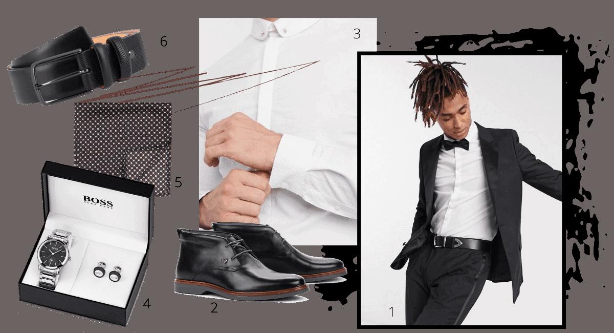 tenue complète du marié avec costume noir traditionnel, coffret montre et chaussures de mariage noires, ceinture noire de marié