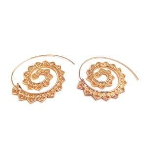 boucles d'oreille pour mariée bohème doré spirale