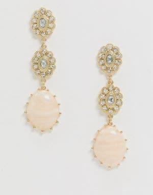 boucles d'oreilles bohème pendantes avec pierre