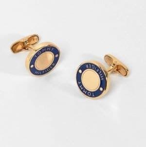 boutons de manchette dorés et bleu marine tommy hilfiger