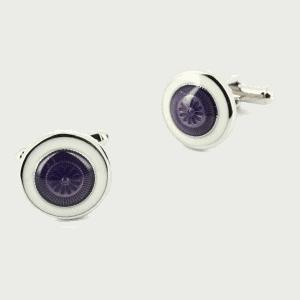 boutons de manchette blanc et violet