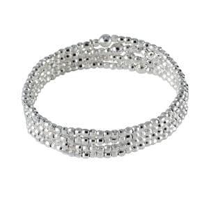 4 bracelets élastiques avec perles argent