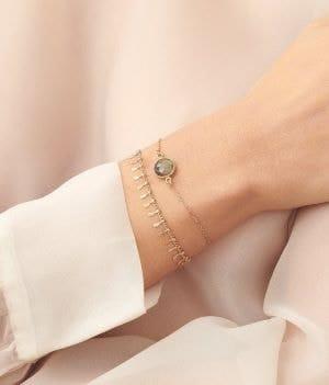 poignet de femme portant 2 bracelets de mariée