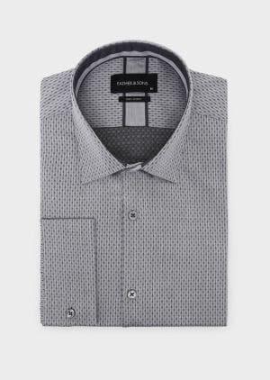 chemise grise à motifs noirs