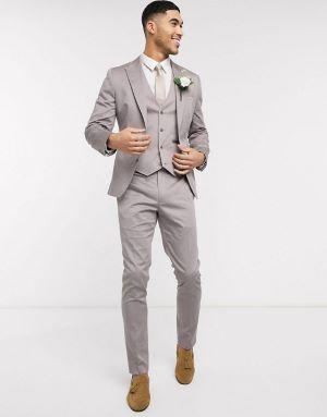 costume de marié gris clair