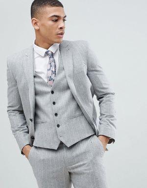 costume de marié 3 pière gris clair à rayures