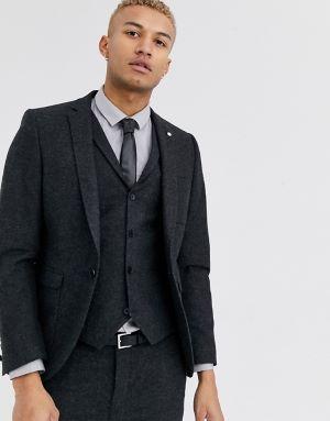 costume de mariage noir 3 pièces en laine