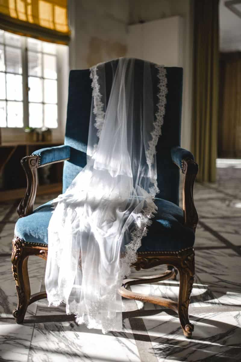 voile de mariée en dentelle brodée